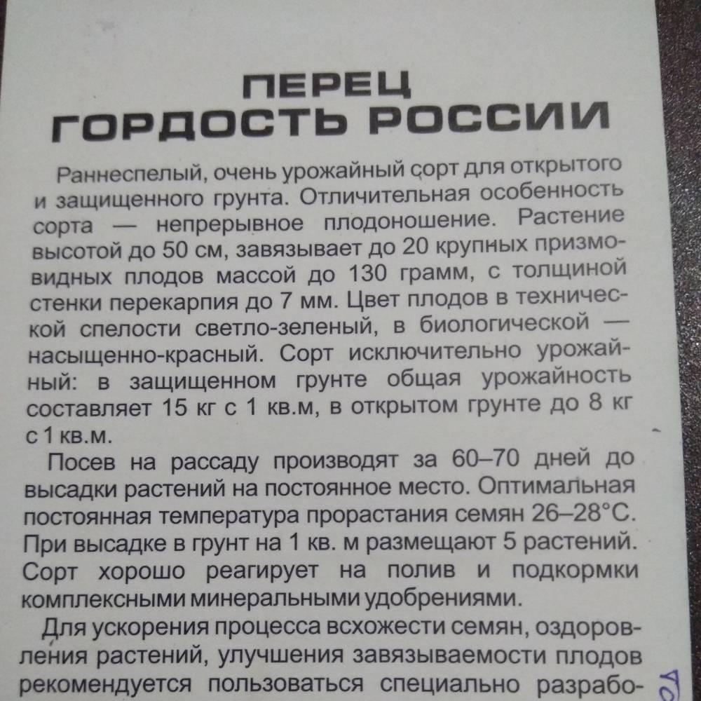 Перец гордость россии фото отзывы - дневник садовода semena-zdes.ru