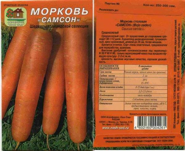 Морковь самсон: отзывы, фото, урожайность и описание сорта