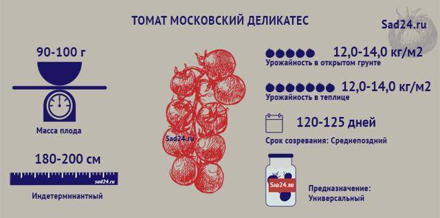 Томат московский деликатес характеристика и описание сорта
