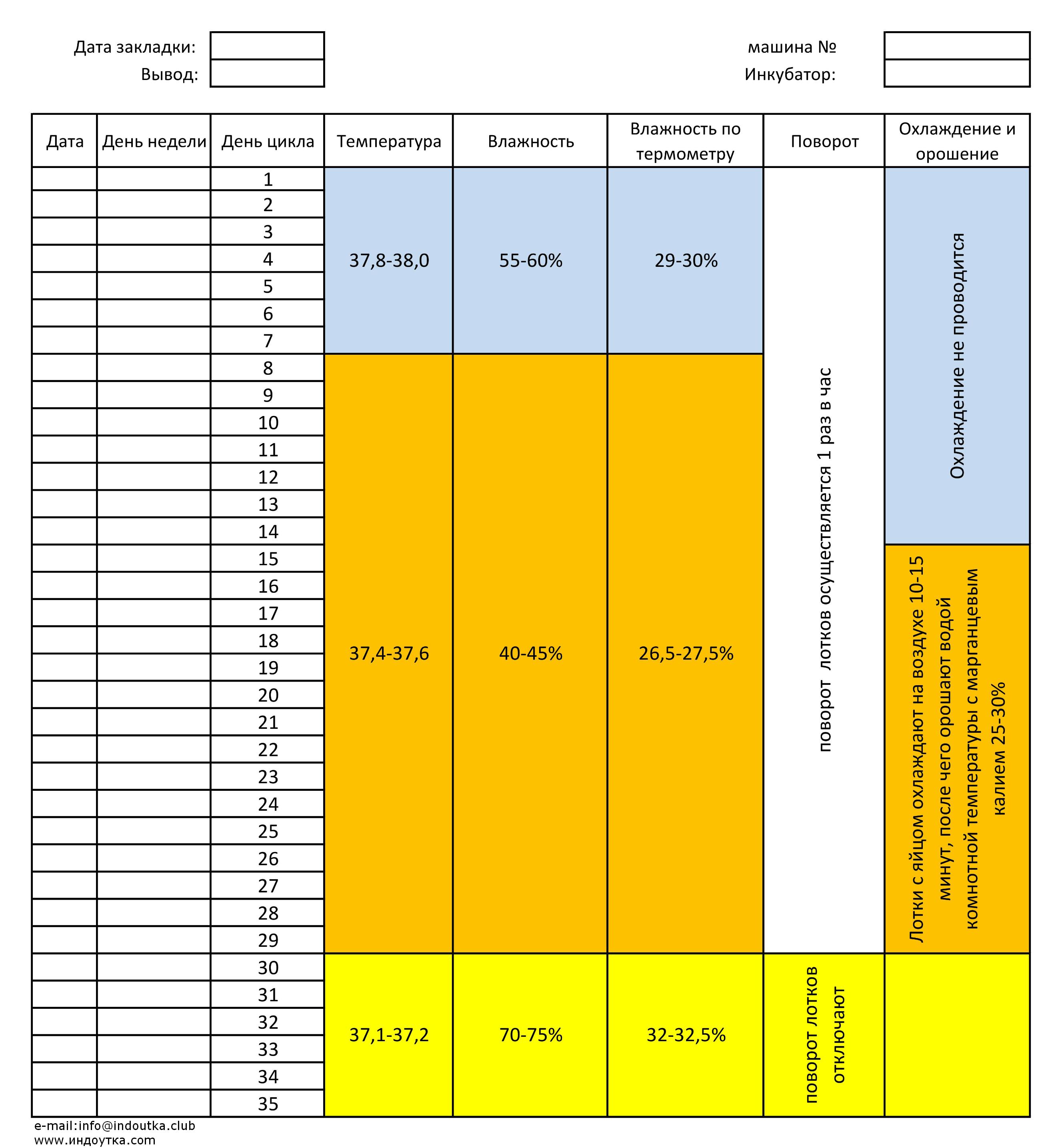 Подробная таблица этапов инкубации индоуток в домашних условиях и режим