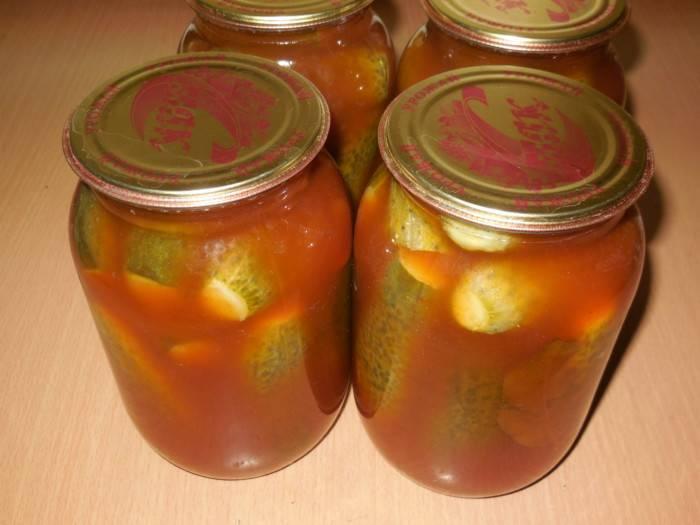 Огурцы с кетчупом чили на зиму - 2 вкусных рецепта