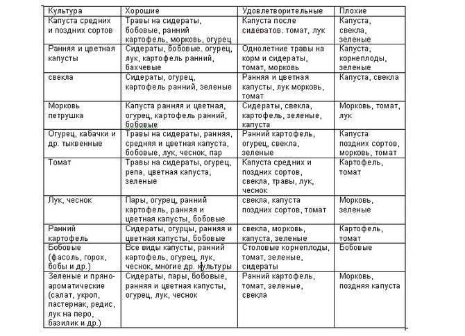 Таблицы севооборота овощных культур на дачном участке