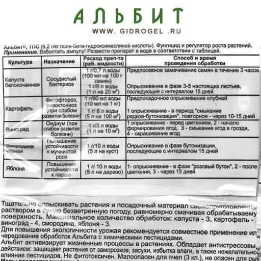 Препарат альбит: свойства и назначение, состав, порядок применения