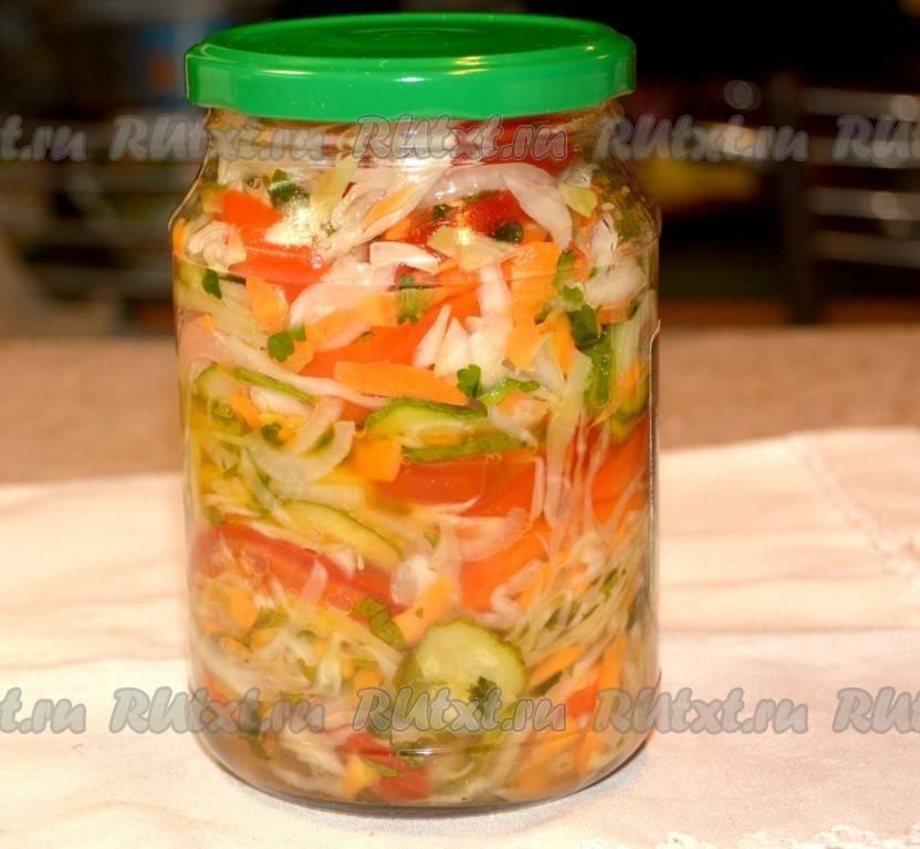 Салат из капусты, огурцов и помидоров на зиму - 9 пошаговых фото в рецепте